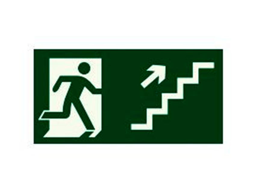 Placa-S11---252x126-mm---Saída-Escada-Sobe-Direita